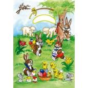 Velikonoční igelitová taška Zajíčci pod stromem 32 x 20 x 4 cm