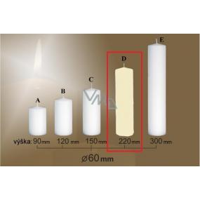 Lima Gastro hladká svíčka slonová kost válec 60 x 220 mm 1 kus