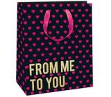 Ditipo Dárková papírová taška černá, růžová srdíčka 18 x 10 x 22,7 cm QC Glitter