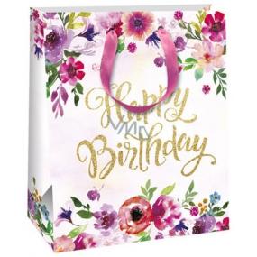 Ditipo Dárková papírová taška bílá, s květy Happy 26,4 x 13,6 x 32,7 cm QAB Glitter