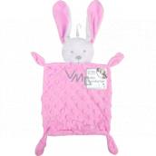 First Steps Usínáček s plyšovou hlavičkou Zajac Minky ružový 26 x 18 cm
