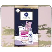 Nivea Blossom Care micelárna voda 200 ml + telové suflé 200 ml + pleťová maska 1 kus + Labello Soft Rosé balzam na pery 4,8 g + plechová krabička, kozmetická sada