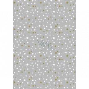 Ditipo Darčekový baliaci papier 70 x 200 cm Vianočné strieborný bielej a zlatej hviezdičky