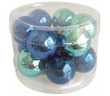 Banky sklenené tmavo modrá sada 2,5 cm, 12 kusov