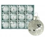 Baňky skleněné stříbrné sada 3 cm 12 kusů