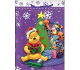 Ditipo Disney Darčeková papierová taška pre deti L Pedvídek Pú Tigrík stromček s hviezdou 26,4 x 12 x 32,4 cm
