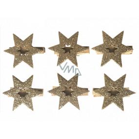 Hviezda drevená na kolíčku zlatá 4 cm 6 kusov