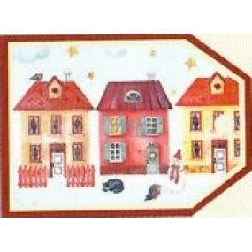 Nekupto Vianočné kartičky na darčeky Tri domčeky 5,5 x 7,5 cm 6 kusov