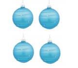 Banky sklenené modré so striebornými prúžkami 8 cm, 4 kusy v balení