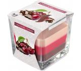 BISPOL Chocolate & Cherry - Čokoláda a višňa trojfarebná vonná sviečka sklo, doba horenia 32 hodín 170 g
