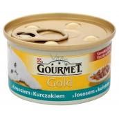Gourmet Gold Cat Losos a kuracie kúsky konzerva pre dospelé mačky 85 g