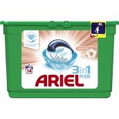 Ariel 3v1 Sensitive gelové kapsle na praní prádla 14 kusů 418,6 g