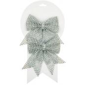 Mašle vánoční stříbrná s kamínky 12 cm 2 kusy