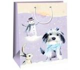 Ditipo Darčeková papierová taška 32,4 x 10,2 x 44,5 cm fialovej psík so snehuliakom DXA