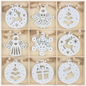 Dekorácie drevené na zavesenie biele 6 cm 27 kusov, v krabičke