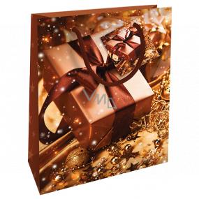 Nekupto Darčeková papierová taška 23 x 18 x 10 cm Vianočný hnedá darček WBM 1929 01