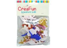 CreaFun Samolepiace dekorácie Dino Eva sa trblietkami mix farieb 37 x 30, 65 x 40 mm 40 kusov