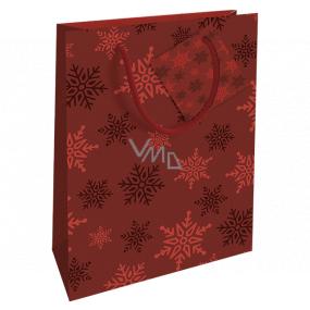 Nekupto Darčeková papierová taška 14 x 11 x 6,5 cm Vianočná červená vločky WBS 1918 30