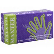 Maxter Rukavice hygienické jednorazové latexové hypoalergénne púdrované, veľkosť L, box 100 kusov