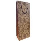 Nekupto Darčeková kraftová taška na fľašu 15 x 40 cm Fľaše vína a poháre