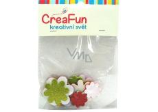CreaFun Samolepiace dekorácie Kvet Eva sa trblietkami mix farieb 31 x 33, 38 x 38, 45 x 45 mm 15 kusov