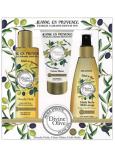 Jeanne en Provence Divine Olive sprchový olej 250 ml + krém na ruky 75 ml + vyživujúce olej na telo, tvár a vlasy 150 ml, kozmetická sada