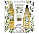 Jeanne en Provence Divine Olive sprchový olej 250 ml + krém na ruce 75 ml + vyživující olej na tělo, obličej a vlasy 150 ml, kosmetická sada