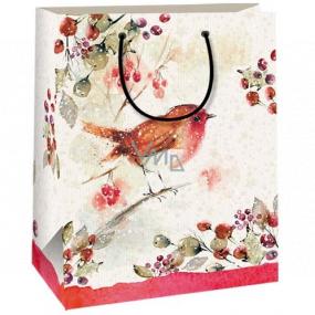 Ditipo Darčeková Kraftová taška 18 x 8 x 24 cm béžová vtáčik 50