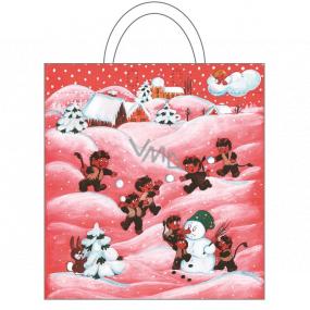 Anjel Igelitová taška 48 x 44 cm čertice a snehuliak