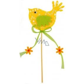 Vtáčik z filcu žltý-biely dekor 7cm