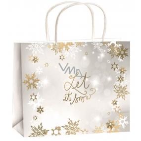 Anjel Taška vianočná darčeková zlatá-biely pás vločiek strieborná-Let it Snow M horizont 23 x 18 x 10 cm