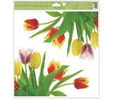 Room Decor Okenné fólie bez lepidla rohová Tulipány žlté s glitrami 30 x 33,5 cm