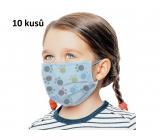 Rúška 3 vrstvová ochranná zdravotné netkaná jednorazová, nízky dýchací odpor pre deti 10 kusov modrá potlač labka