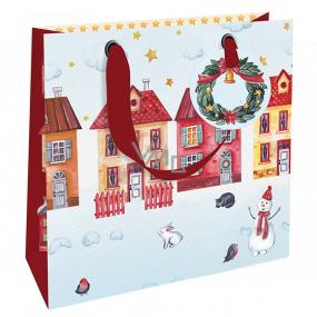 Nekupto Darčeková papierová taška luxusné 18 x 16 cm Vianočný domčeky WLIS 1970