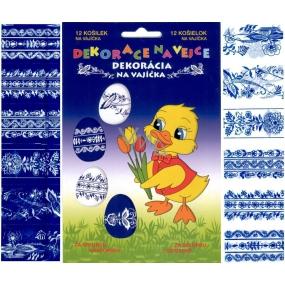 Fólie na vajcia vzory modro-biele 12 kusov v balení (zmršťovacia košieľky)