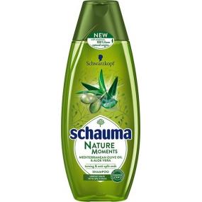 Schauma Nature Moments Stredomorský olivový olej a Aloe Vera regeneračné proti štiepeniu končekov šampón na vlasy 400 ml