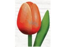 Bohemia Gifts & Cosmetics Dřevěný tulipán oranžovo-bílý 20 cm