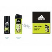 Adidas Pure Game dezodorant sprej pre mužov 150 ml + 3v1 sprchový gél na telo, tvár a vlasy 250 ml, kozmetická sada