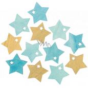 Hviezda drevená tyrkysovo-zlatá 4 cm 12 kusov