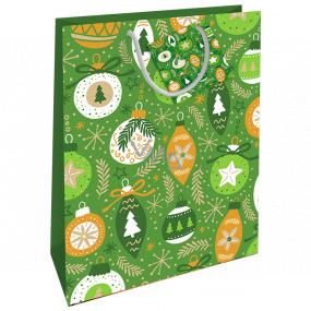 Nekupto Darčeková papierová taška 32,5 x 26 x 13 cm Vianočná zelená ozdoby WBL 1955 50