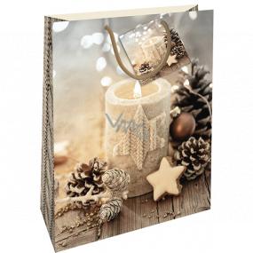 Nekupto Darčeková papierová taška 32,5 x 26 x 13 cm Vianočná so sviečkou WBL 1945 01