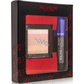Revlon Volume + Length magnified riasenka Blackest Black 8,5 ml + highlighting Palette rozjasňujúci paletka 020 Rose Glow 7,5 g, kozmetická sada