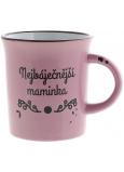Albi Plecháček keramický hrnček s nápisom najbáječnejšie mamička, ružový 320 ml