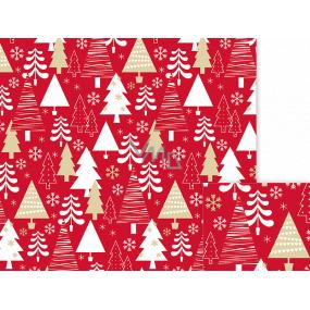 Nekupto Darčekový baliaci papier 70 x 500 cm Vianočné červený biele, zlaté stromčeky