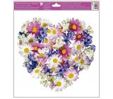 Okenné fólie bez lepidla Srdce z kvetov Lúčne kvety 30 x 33,5 cm