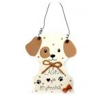 Nekupto Mazlíčci Dřevěná cedulka Láska je čtyřnohá - pes 12 x 8 cm