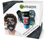 Garnier Skin Naturals Pure Active 3v1 aktivní uhlí proti černým tečkám 150 ml + Men Pure Active kuličkový antiperspirant deodorant roll-on pro muže 50 ml, kosmetická sada