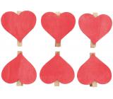 Srdce drevené na kolíčku červené 6 cm 6 kusov