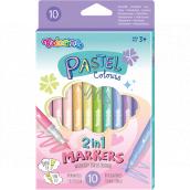 Colorino Pastel obojstranné fixky 2v1 s dvoma hrotmi, trojhranné 10 farieb