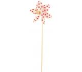 Veterník s veľkými bodkami biely červené bodky 9 cm + špajle 1 kus